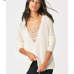 NWT JUSTFAB distressed cream sweater size M